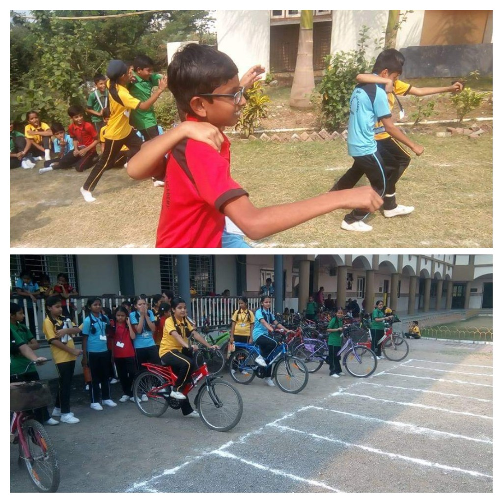 Sports activities (Slow cycling and three legged race)